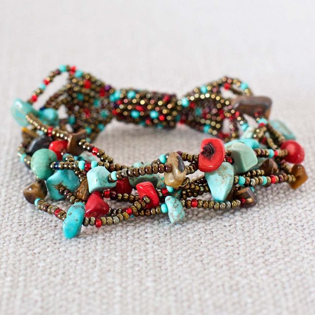 Fair Trade Handmade Guatemalan Southwest Turquoise Coral Beaded Magnetic Bracelet Chunky