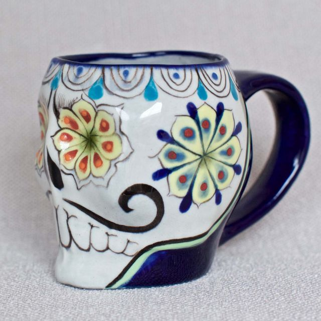 Fair trade Guatemalan sugar skull Skeleton coffee or tea cup mug Fair trade Guatemalan sugar skull Skeleton coffee or tea cup mug Fair trade Guatemalan sugar skull Skeleton coffee or tea cup mug