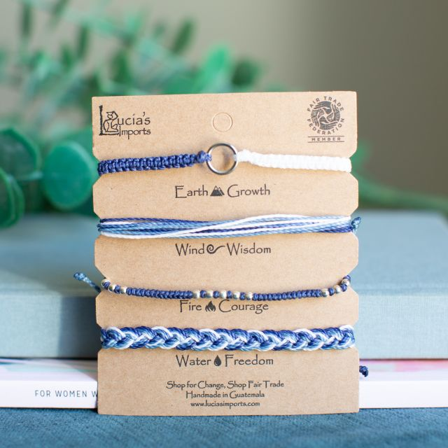 Lucia's Imports Wholesale Fair Trade Handmade Guatemalan String Bracelets Elements Carded Set of 4