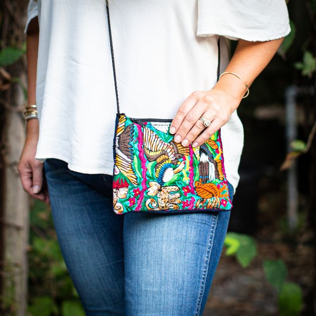 Recycled Passport Huipil Upcycled Guatemalan Fair Trade Handmade Crossbody Wristlet