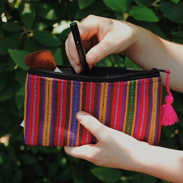 Ikat Cosmetic Bag with Tassel fair trade