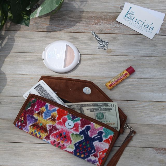 Lucia's Imports fair trade handmade embroidered huipile wallet from guatemala