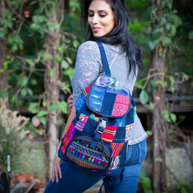 Fair Trade Upcycled Patch Backpack Ethical Backpack