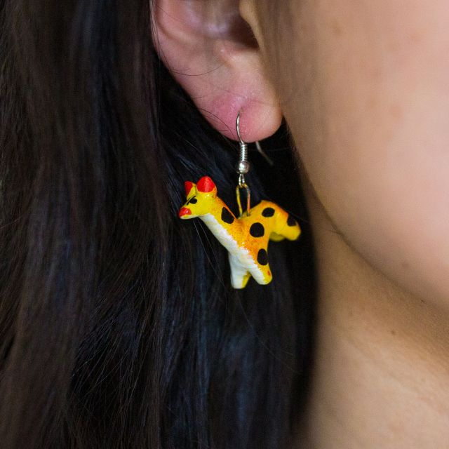 Lucia's Imports Fair Trade Handmade Guatemalan Ceramic Earrings Fair Trade Animal Llama Giraffe Butterfly Sun Kat Pig