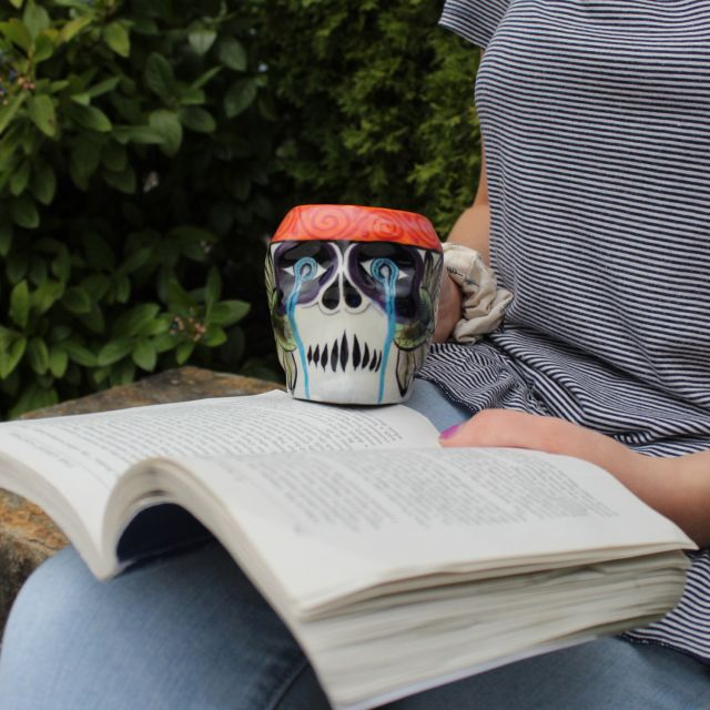 Fair trade Guatemalan sugar skull Skeleton coffee or tea cup mug