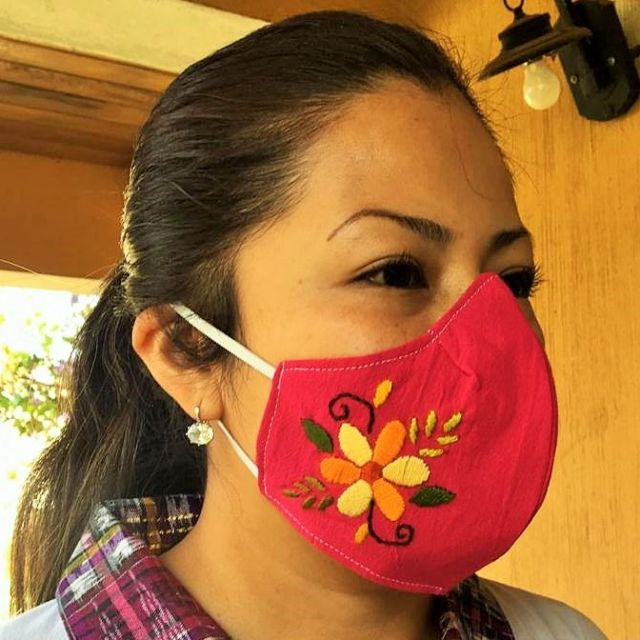 Hand embroidered fair trade  Duckbill Face Mask