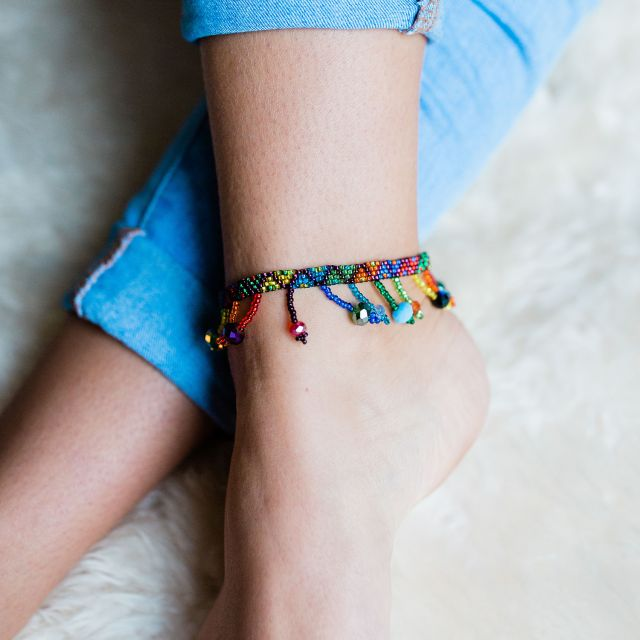 Rainbow Anklet Fair Trade Jewelry Handmade Accessories Accessorize Ethically Shop Fair Shop Small Around The World Artisan Made Pride