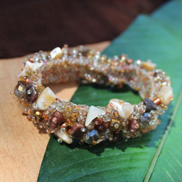 Magnetic Stone Caterpillar Bracelet; fair trade; guatemalan; artisan; beaded; handmade; elegant; chunky; jewelry