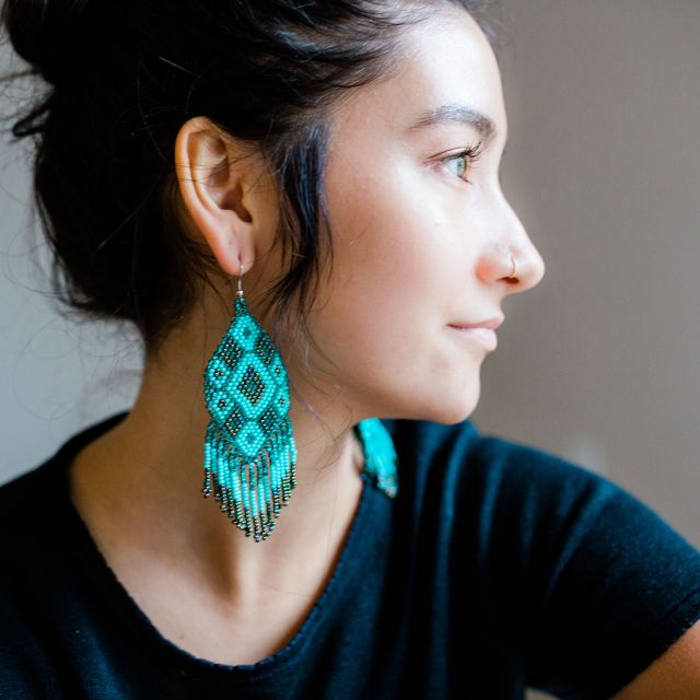 Lucia's Imports Wholesale Fair Trade Handmade Guatemalan Beaded Large Kite Earrings