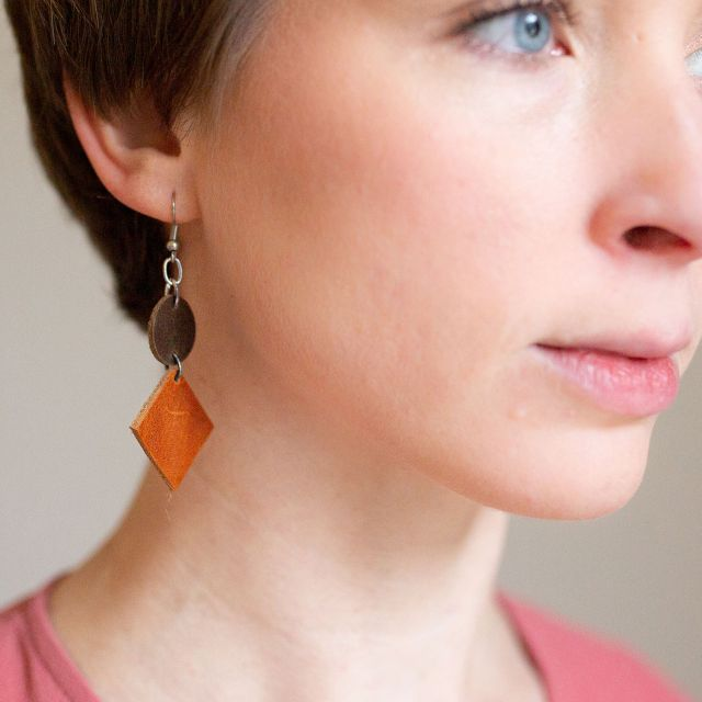 Lucia's Imports Wholesale Fair Trade Handmade Guatemalan Geometric Leather Earring