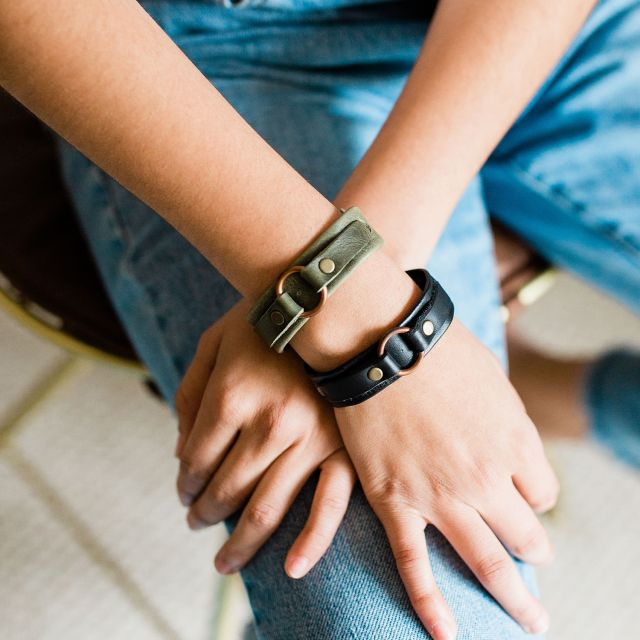 handmade fair trade leather karma bracelet from guatemala