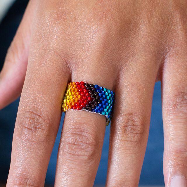 Beaded Rainbow Ring Fair Trade Guatemala, pride, jewelry