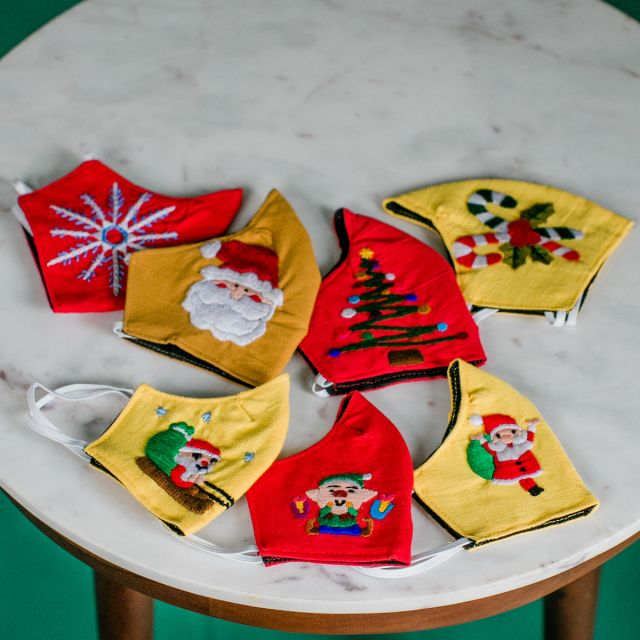 Holiday Christmas Face Masks. Fair Trade Guatemala