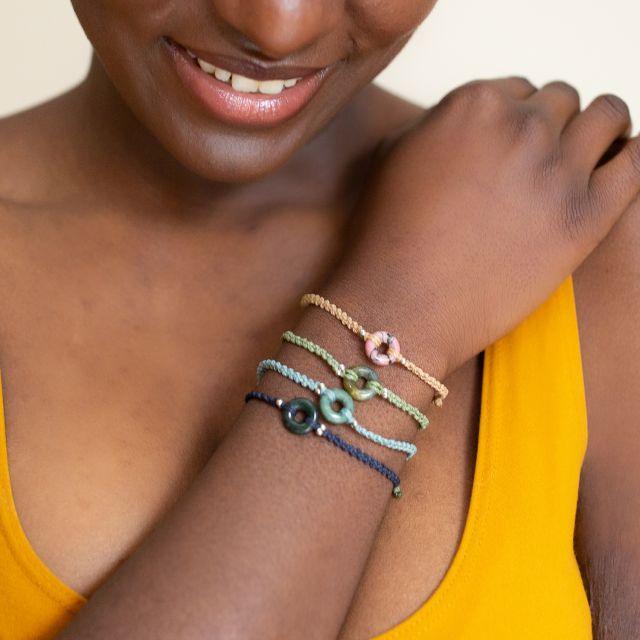 Lucia's Imports Wholesale Fair Trade Handmade Guatemalan Macrame Jade Karma Bracelet