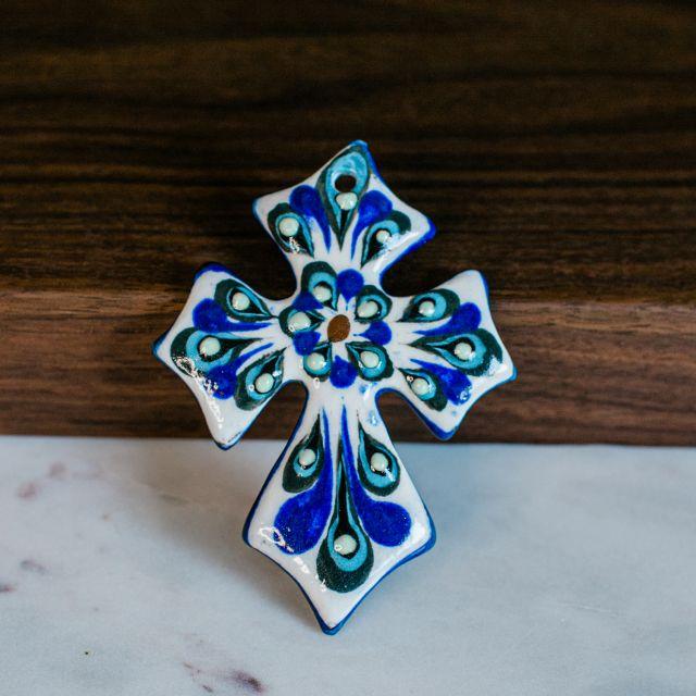 Small Ceramic Cross Hand Painted Handmade Fair Trade Guatemala