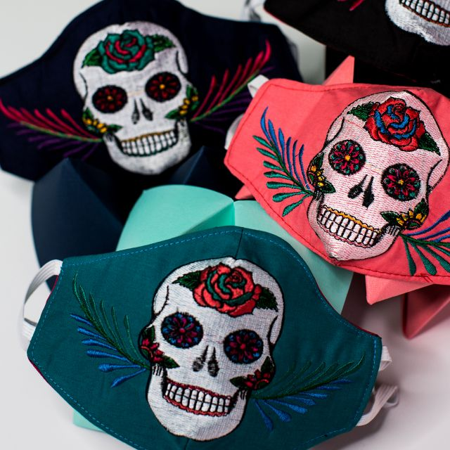 Embroidered Skull Face Mask