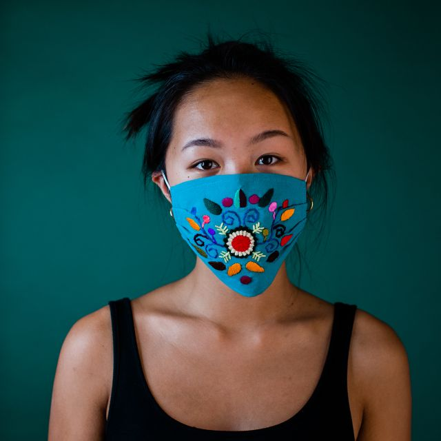 Hand Embroidered Guatemalan fair trade cotton face mask