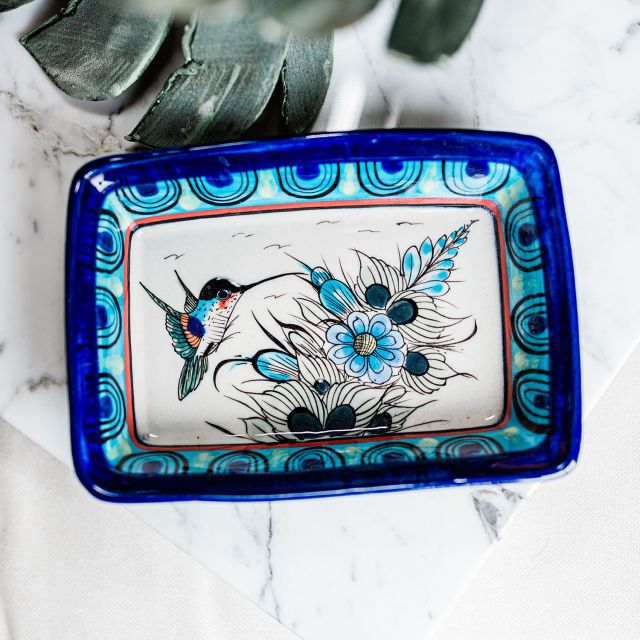 Lucia's Imports Wholesale Fair Trade Handmade Guatemalan Ceramic Wild Bird Rectangle Dish