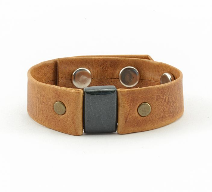 Fair Trade Handmade Men's Leather Jade Bracelet Guatemala