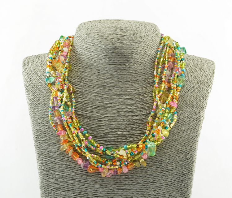 Fair Trade Jewelry Necklace Beaded Rock Candy Multi Strands Guatemala Handmade