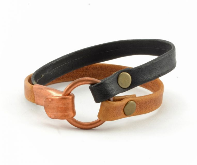 Guatemalan Handmade Fair Trade Men's Leather Copper Clasp Bracelet
