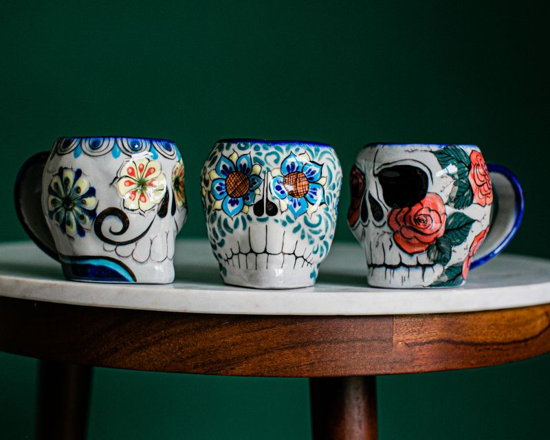 Lucia's Imports Wholesale Handmade Fair Trade Guatemalan Ceramic Sugar Skull Skeleton Mugs