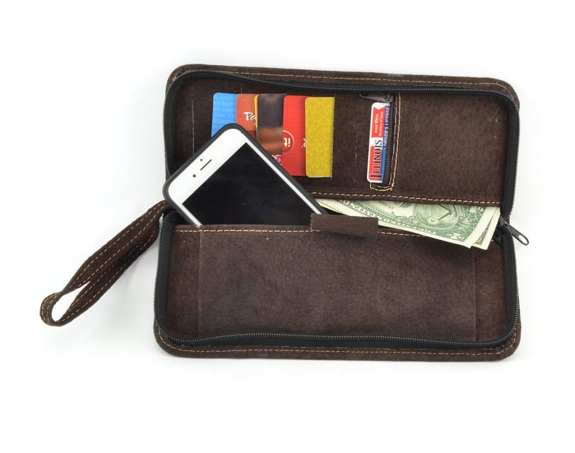 Fair Trade Handmade Guatemalan Suede Wristlet/Checkbook Cover Wallet