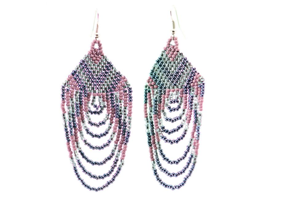Lucia's Imports Wholesale Handmade Guatemalan cascade beaded fair trade earring